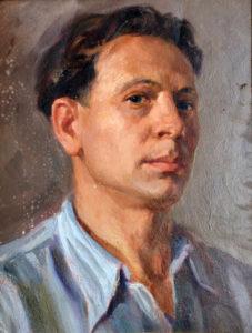 Belov V. - A self-portrait. Oil on cardboard, 41.7*32.5. 1952