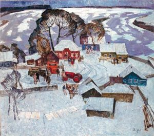 Meeting in the village. Siberia